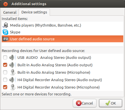 Audio Recorder Device Settings