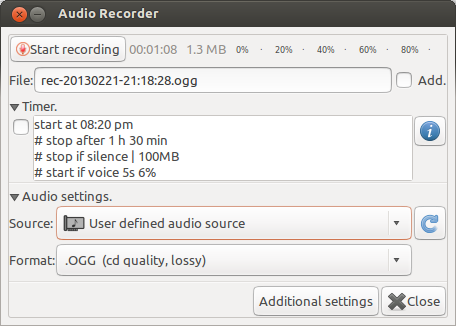 Audio Recorder main screen